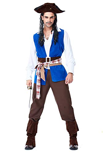 Halloween Pirate Cosplay Men's Pirate Swashbuckler Costume Buccaneer Dress Up & Role Play,X-Large ()