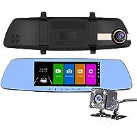 NEXGADGET Dual Dash Cam, 7 Inch IPS Touch Screen Full HD 1080P Dual Lens Car Camera Rearview Mirror Car Camcorder+ Backup Camera With G-sensor, Parking Mode