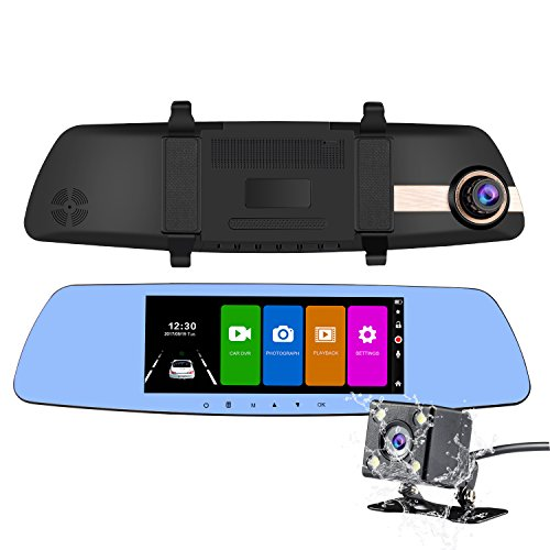 NEXGADGET Dual Dash Cam, 7 Inch IPS Touch Screen Full HD 1080P Dual Lens Car Camera Rearview Mirror Car Camcorder+ Backup Camera With G-sensor, Parking - View Mirror Max