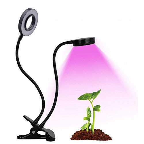 Plant Grow Light, Vlio 12W (6Wx2) Dual Head LED Plant Growing Lamps Bulbs Clip on Desk with 360 Degree Adjustable Gooseneck for Indoor Plants Hydroponics Greenhouse Garden Home Office