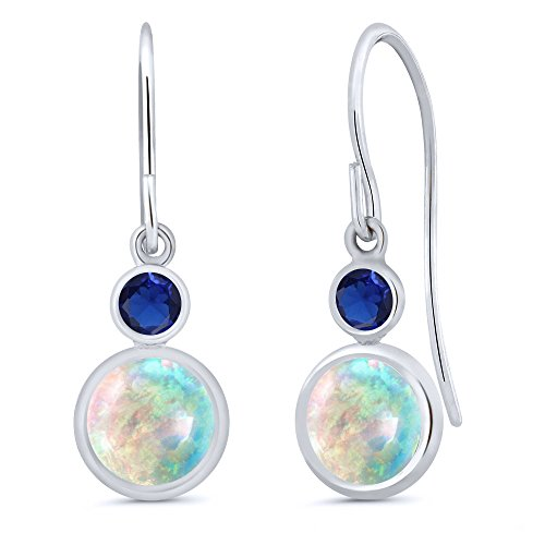 Gem Stone King 1.76 Ct Round Cabochon White Simulated Opal Blue Simulated Sapphire 14K White Gold Earrings