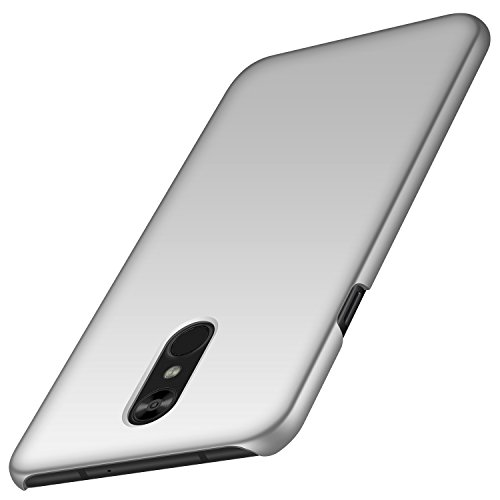 (LG Stylo 4 Case, Almiao [Thin Fit] Minimalist Slim Protective Phone Case Back Cover for LG Stylo 4 (Smooth Silver))