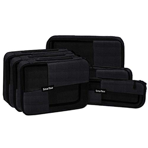 SmarTour Travel Packing Cubes Luggage Organizers Durable Suitcase Packing Bags Lightweight 6 PCS (Black 02)