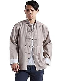 Men`s Chinese Traditional Linen Cotton Tai Chi Kung Fu Mandarin Collar Frog-Button Shirt