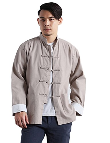 Idopy Men`s Chinese Traditional Linen Cotton Tai Chi Kung Fu Mandarin Collar Frog-Button Shirt Beige Asian XXL US ()