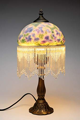 Hand Painted Lilac Purple Flowers Designs Glass Shade with Hanging Beads Strings Bronze Finish Cast Iron Base Table Lamp, 8