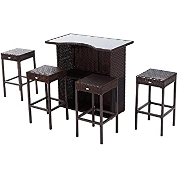 Amazoncom Best Choice Products 3PC Wicker Bar Set Patio Outdoor