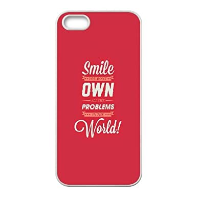 Iphone 4 4s Cell Phone Case White Quotes Smile Problems Own World