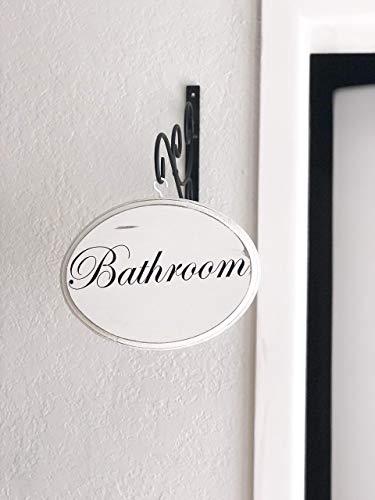 - Farmhouse Style White Oval Bathroom Sign