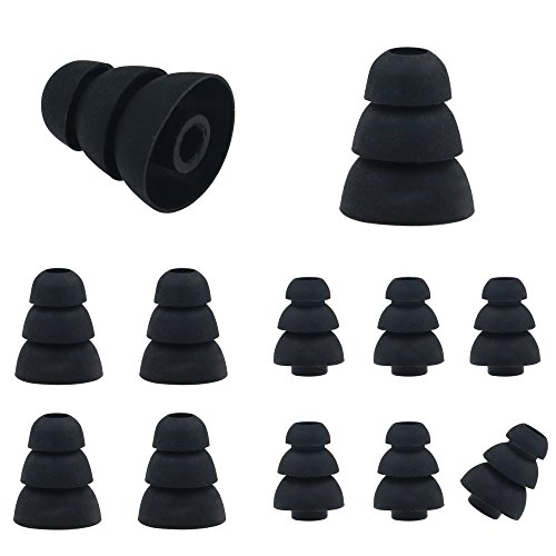 ALXCD Triple Flange Ear Tip, 6 Pairs (S/L) Size Triple Three Flange Noise Isolate Silicone Replacementl Cushion Ear Bud Tips with 4mm Connector Hole, Fit for Most In Ear Earphone (Black)[Small/Large]