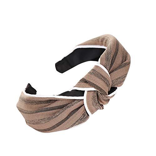BAOHOKE Women's Sweet Bowknot Hair Hoop,Simple Stylish Girls Headband(Khaki)