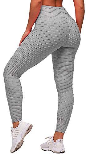 Memoryee Frauen Honeycomb geraffte Hintern heben hohe Taille Yogahosen schick mit Taschen Sport Bauch Kontrolle Gym