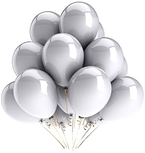 Grey Latex Balloons (KALOR 100 Pack 10 Inch Matte Grey Latex Balloons Helium Balloons for Birthday Party Wedding Party Baby Shower)