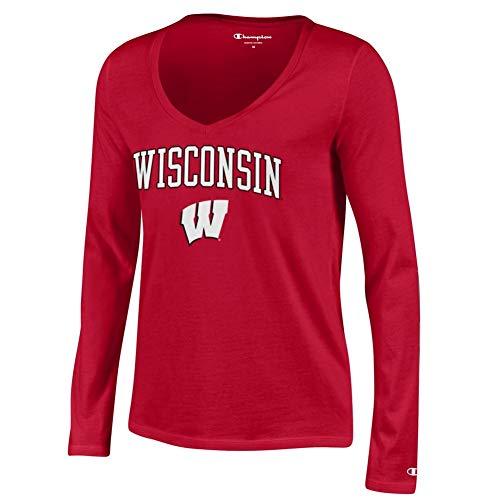 Elite Fan Shop Wisconsin Badgers Womens Vneck Long Sleeve Tshirt Scarlet - M -