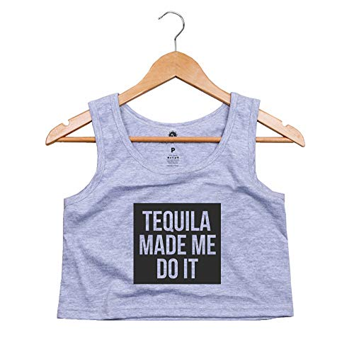 Blusa Cropped Regata Morena Deluxe Tequila Made Me do It Cinza