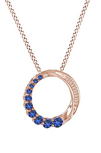 (Simulated Blue Sapphire & White Natural Diamond Accent Journey Circle Pendant In 10k Rose Gold)