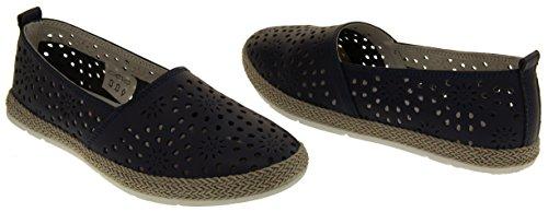 Coolers HD928 Mujer Cuero Genuino Zapatos Casuales de Verano Azul