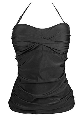 Cocoship Black Solids Color Ruched Swim Top Shirred Twist Bandeau Swimsuit Tankinis L(FBA)