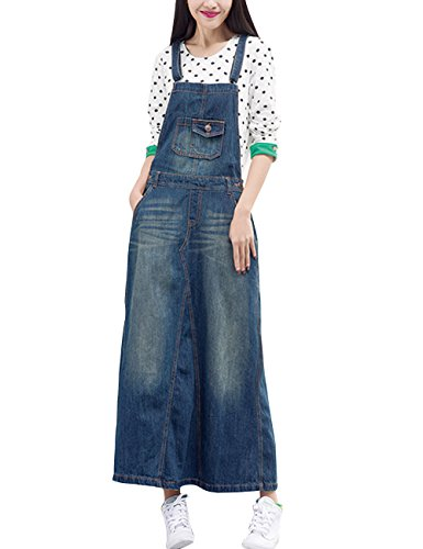 Zoulee Women's Casual Denim Dress Bib Overall Dress Jumpsuits Rompers Style 1