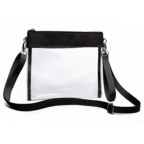 (iSPECLE Clear Purse, Clear Bag Stadium Approved for Football Game, BTS Concert, Design with Shoulder Strap and Wrist Strap, Use as a Fashion Crossbody Bag or Handbag for Ladies Black)