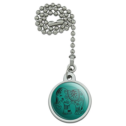 Painted Elephant India Black on Teal Ceiling Fan and Light Pull Chain -