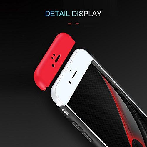 para iPhone 6 Caso, Vandot de 360 Grados Alrededor de Todo el Cuerpo Completo de Protección Ultra Thin Slim Fit Cubierta de la Caja de Mate PC Absorción de impactos Shockproof para iPhone 6 6s 4.7, R QBHD PC 03