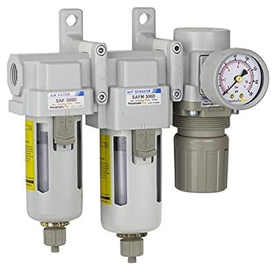 "PneumaticPlus SAU330-N03G Three Stage Air Drying System Particulate Air Filter, Coalescing Filter, Air Pressure Regulator Combo 3/8"" NPT - Poly Bowl, Manual Drain, Bracket, Gauge"