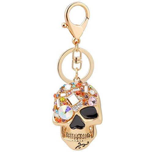 (Skull Key Keychains 3D Creative Novelty Blings Crystal Skull Keyrings for Women Girl Charm Purse Handbag Gift,Gold)