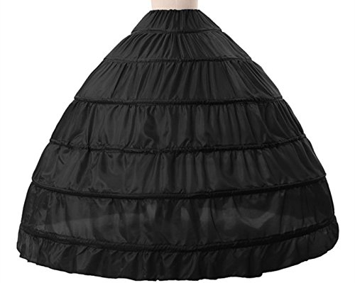 Anna Sexy A-line 6 Hoop Floor-length Bridal Dress Gown Slip Petticoat (One Size, Black)
