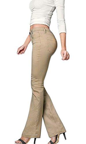 HyBrid & Company Women's Skinny Bootcut Stretch Pant-P31699BLX-BEIGE/KHAK-16