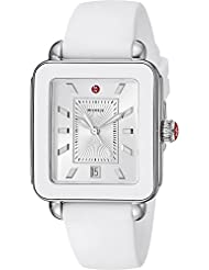 MICHELE Womens Swiss Quartz Stainless Steel and Rubber Casual Watch, Color White (Model: MWW06K000004)