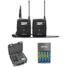 Sennheiser ew 112P G4 Camera-Mount Wireless Microphone System with ME 2-II Lavalier Mic plus SKB iSeries Waterproof System Case and 4-Hour Rapid Charger (4 AA Batteries)