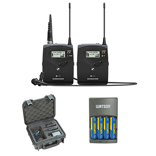 (Sennheiser ew 112P G4 Camera-Mount Wireless Microphone System with ME 2-II Lavalier Mic plus SKB iSeries Waterproof System Case and 4-Hour Rapid Charger (4 AA Batteries))