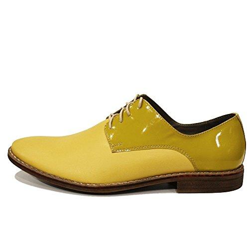 PeppeShoes Modello Banana - Handgemachtes Italienisch Leder Herren Gelb Oxfords Abendschuhe Schnürhalbschuhe - Rindsleder Lackleder - Schnüren