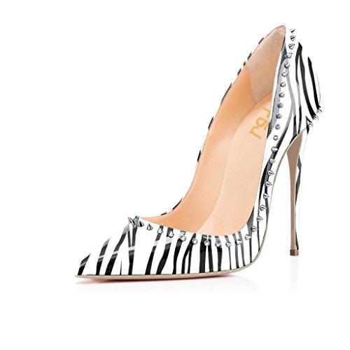 FSJ Women Pointed Toe High Heel Pumps Slip On Rivets Patent Stiletto Dress Shoes Zebra