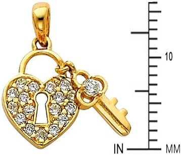 14k Yellow Gold CZ Heart Lock /& Key Pendant with 0.65mm Box Link Chain Necklace