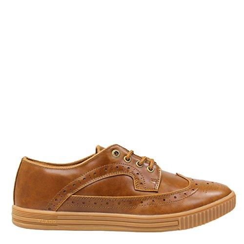 VLADO Footwear Mens Parson PU Leather Wingtip Low Top Low Top Sneakers Brown ERfpZ9