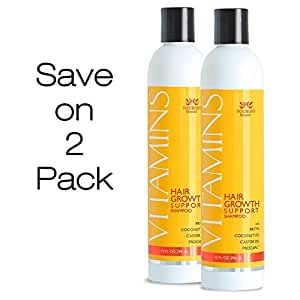 SAVE ON 2 PACK of Vitamins Hair Growth Shampoo- Guaranteed Treatment for Thinning Hair- 47% Less Hair Loss and 121% Regrowth in Clinical Trials …