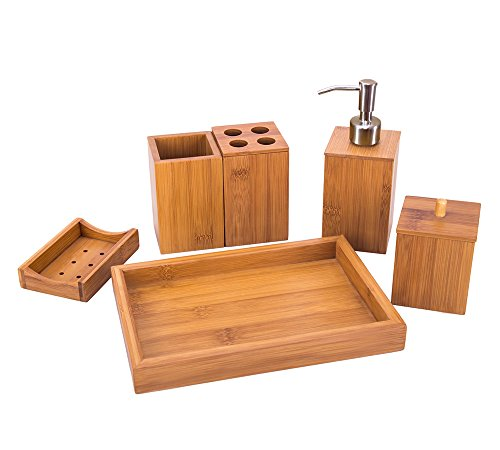 Sansnow Bamboo Bathroom Accessory Set with Soap Dispenser, Cotton Ball Box, Toothbrush Holder, Toothpaste Holder, Soap Dish, Towel Tray Bathroom Set for Home, Hotel, Classic 6 Pcs Bath and Vanity