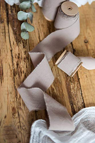 Beige muslin cotton frayed edges hand dyed ribbon 1'' х 5 yards in roll Taupe Rustic wedding invitation ribbon, favors wrap and bouquet supplies