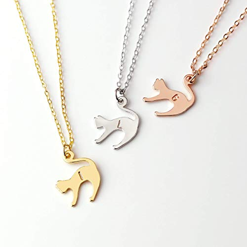 Celestial Halloween Kitty Cat Necklace Best Friend Necklace Monogram Initial Necklace Dainty Kitty Pendant Cat Lover Necklace Women New Pet Gift For Her - SCN-S]()
