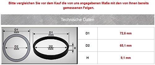 4/x Anillos de Centrado Di/ámetro Exterior 72,6/mm Interior 65,1/mm