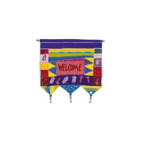 - Yair Emanuel Multicolored Wall Hanging with Welcome Greeting and Flowers