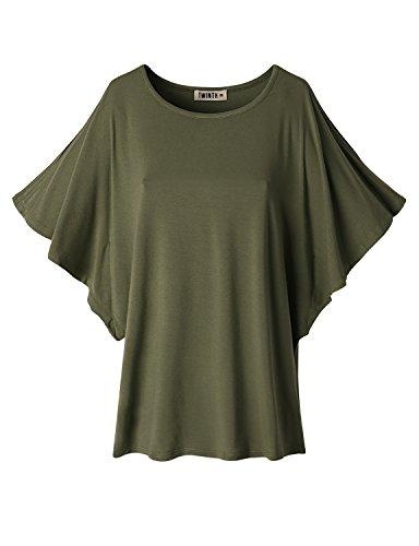 Doublju Women Sexy Crew Neck Short Sleeve T-Shirt OLIVE,S