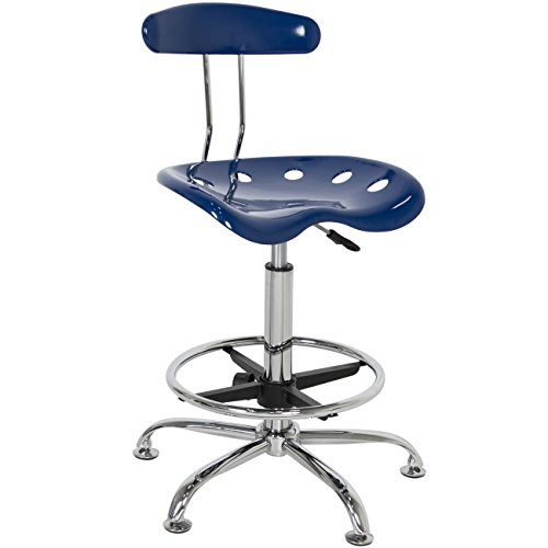 Chair Modern Blue Bar Stools Swivel Chrome Drafting ABS plastic seat