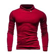 HTHJSCO Men's Shirts, Men's Autumn Winter Solid Long Sleeved Sweatshirts Top Blouse