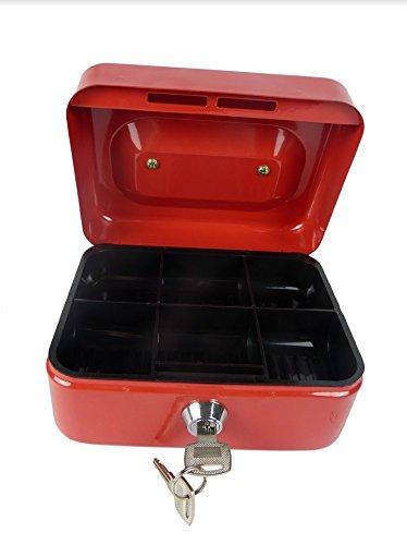 Hyfive 6 Roter Stahl Petty Kasse Geld Halter Sicherheit Safe mit Schlussel