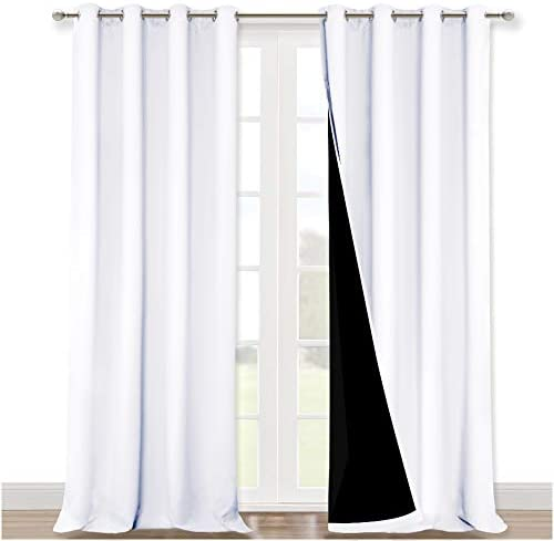 NICETOWN White 100% Blackout Curtains for Windows, Super Heavy-Duty Black Lined Total Darkness Drapes for Bedroom, Privacy Assured Window Treatment for Patio (Pack of two, 52 inches W x 108 inches L)