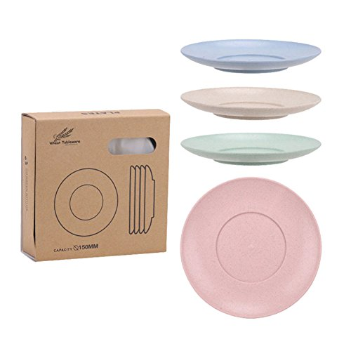 Golandstar Healthy Kitchen Dinnerware Bowl Sets Eco Biodegradable Unbreakable Dinner Plates Bowl Dinnerware, Fork, Spoon, Cup, Chopsticks (4, 4pcs 4colors (Metal Bowl Microwave)