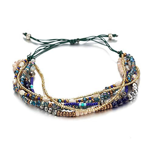 (TOMLEE Multilayers Hand-Woven Green Beaded Chain Wrap Bracelet Adjustable Handmade String Braided Stretch Knot Crystal Beads Bracelets (B: Green Beads))